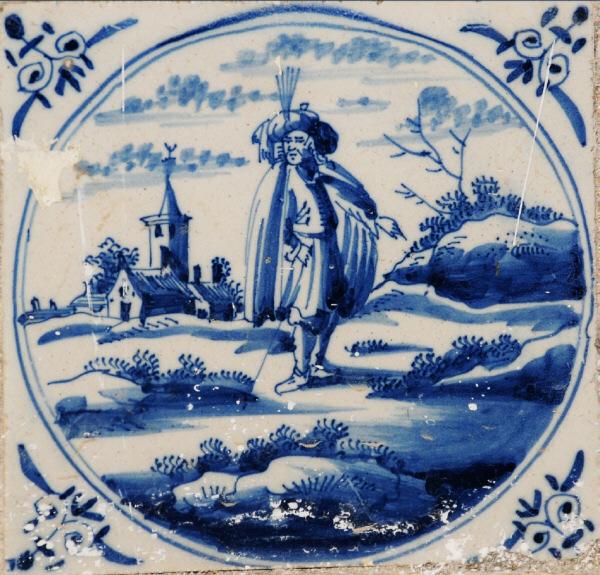 Pieza del mes. Septiembre 2015. Los azulejos holandeses con motivos de peregrinos en la iglesia de San Juan de Dios de Cádiz. Alfredo García Portillo.