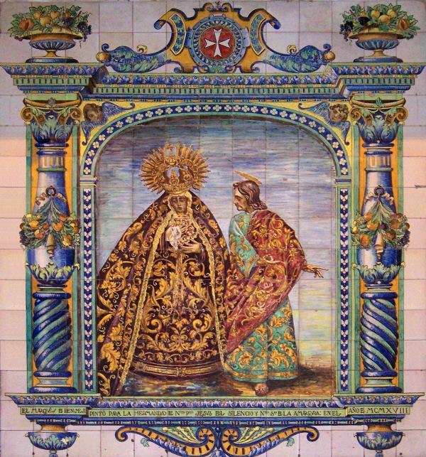La Hermandad de la Amargura de Sevilla restaura el valioso retablo cerámico del Marqués de Benamejí