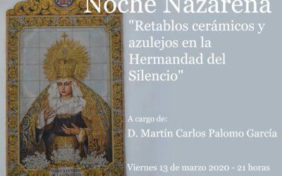 Sevilla. Conferencia sobre los retablos cerámicos y azulejos de la Hermandad del Silencio.