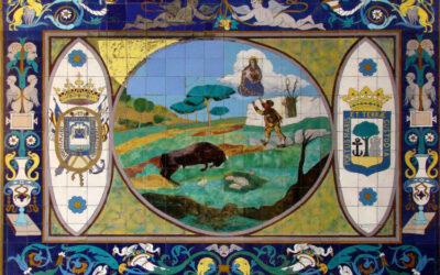 Pieza del mes. Enero 2021. Paneles cerámicos de Daniel Zuloaga en el Santuario de la Cinta de Huelva. Eduardo J. Sugrañes.