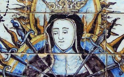 Pieza del mes. Febrero 2021. Retablo cerámico de la Virgen de los Dolores. Hermandad de los Servitas. Sevilla. Martín Carlos Palomo García.